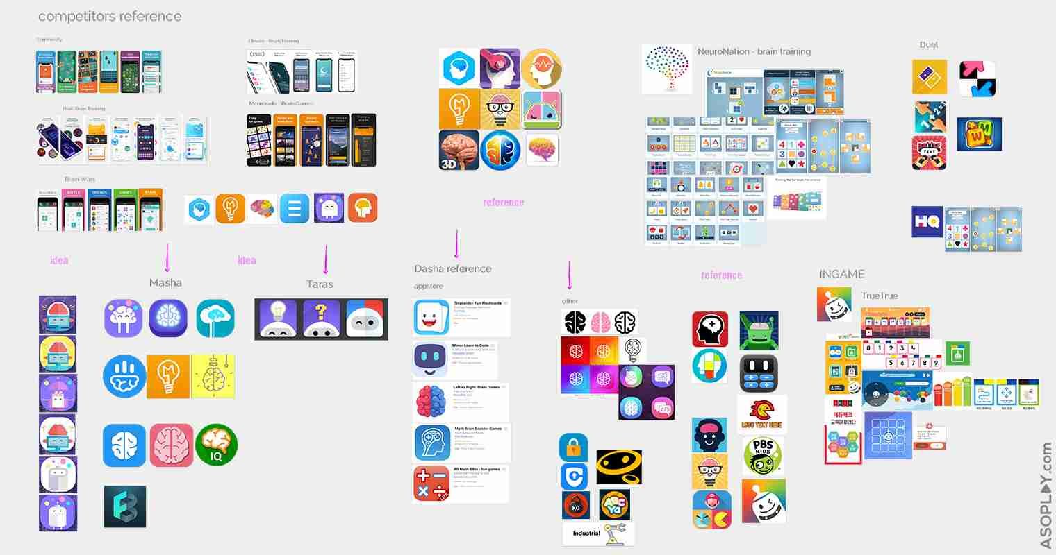 App Icon find reference idea version a-b testing BrainBuzz
