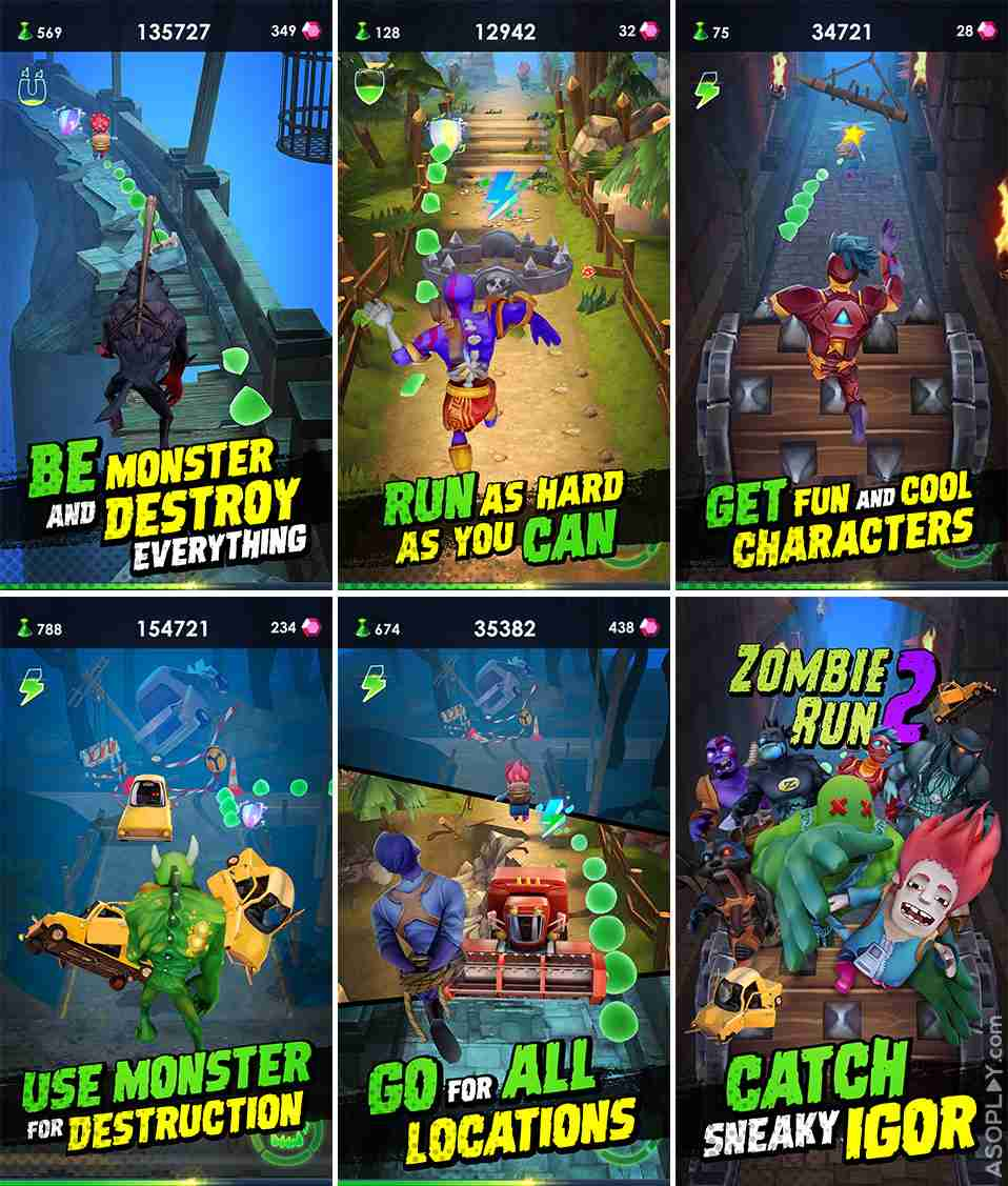 ZombieRun2 screenshots pack old cartoon mobile
